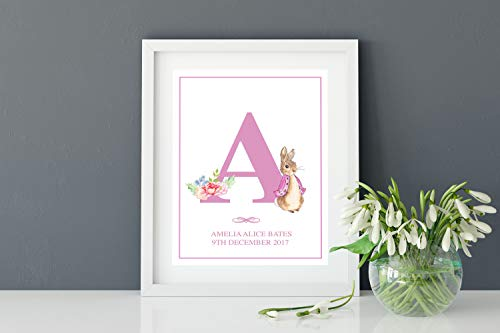 MalertaART Personalised Watercolour Peter Rabbit Alphabet Monogram Word Art Print New Baby Nursery Christening Gift Wall Art Keepsake Girl Framed Wall Art ()