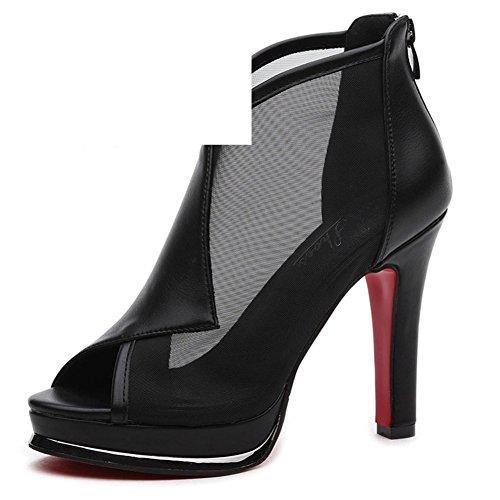 PUMPS Ladies, Heel Schuhe,Net Garn 100 Wasserdichte Schuhe-B Fußlänge=22.3CM(8.8Inch)