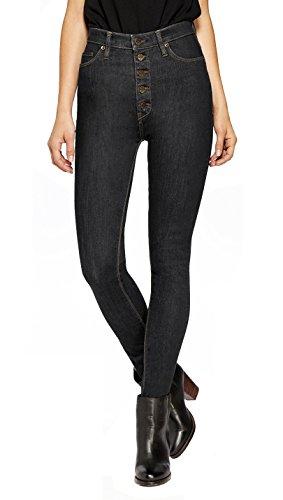 - HyBrid & Company Womens Super Stretch 5 Button Hi-Waist Skinny Jeans Black 14