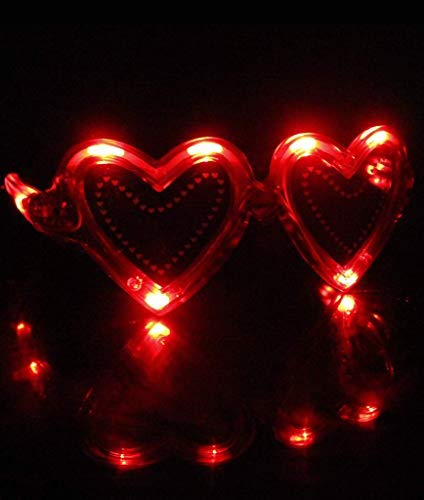 Fun Central AD621, 6 Pcs Red LED Light Up Heart Sunglasses, Fun Party Sunglasses, Light Up Party Sunglasses, Glow Eyeglasses, Flashing Sunglasses for Valentines Day Party, Go Red Party, Wedding Flashing Sunglasses for Valentine/'s Day Party