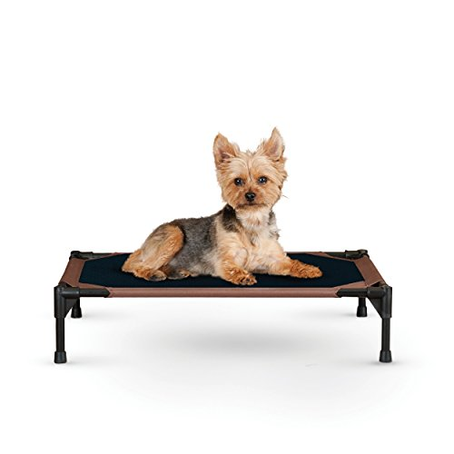K&H Pet Products Original Pet Cot Elevated Pet Bed Small Chocolate/Mesh 17 by 22