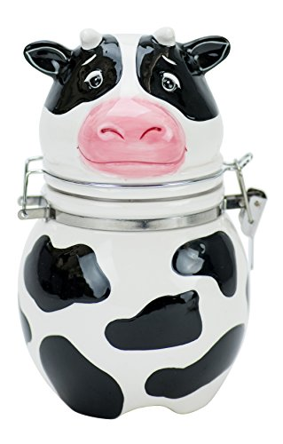 Boston Warehouse Udderly Cow Hinged Jar, Hand Painted Ceramic (Jars Cow Cookie)