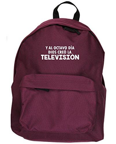 HippoWarehouse Y Al Octavo Día Dios Creó La Televisión kit mochila Dimensiones: 31 x 42 x 21 cm Capacidad: 18 litros Granate