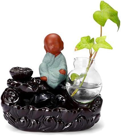 Queenwind の陶磁器の逆流の香のバーナーガラス水耕のびんの花瓶の家の装飾的な装飾品
