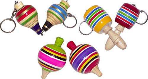 MoreFiesta Fine Mini Wooden Balero, Spin top and Trompo Keychain - Six Traditional Mexican Miniature Toys Box by MoreFiesta (Image #5)