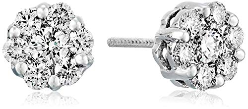AGS Certified 1/2 Cttw Brilliant-Cut Diamond Flower Cluster Screw Back Stud Earrings (I-J Color, SI2-I1 Clarity), 14K White Gold