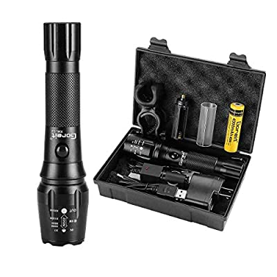 LED Military USB Rechargeable Flashlight IP65 Waterproof Zoomable Tactical Torch Super Bright 900 Lumens CREE LED For Camping Hiking Emergency - 18650 Battery & Charger Included