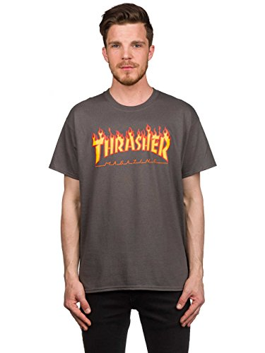 Thrasher Flame T-Shirt (Small, Charcoal) by Thrasher (Image #1)