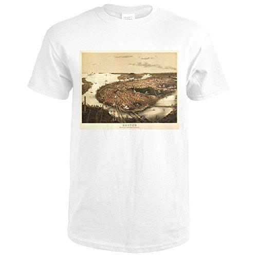 Boston, Massachusetts - (1877) - Panoramic Map (Premium White T-Shirt - Map Massachusetts 1877