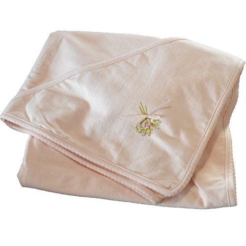 Boutique Collection Baby Girls Roses Hand Embroidered Receiving Blanket with Hood.