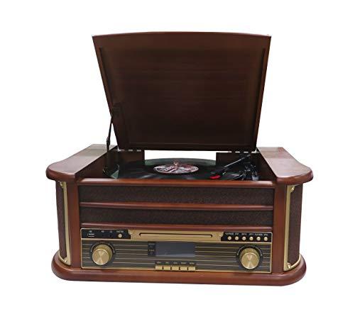 Denver MRD-51 DAB+, FM/AM radio met cd, cassette- en platenspeler, houtlook