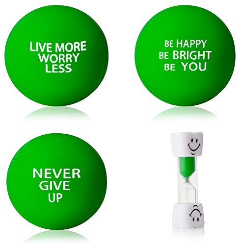 InsidersPro Stress Ball Complete Bundle: Motivational Squeeze Toys + Sand Timer | Hand Exerciser Balls to Relieve Tension/Joint Pain & Strengthen Grip - Great Gift Idea for Kids & ()