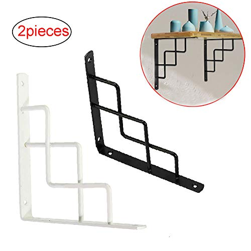 HRD Farmhouse DIY Wall Mount Shelf Bracket, Right Angle Floating Metal Shelf Support Modern Appearance, Suitable for Living Room, Kitchen, Flower Stand, Powder Coating, 2 Pieces