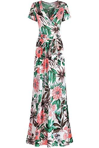 - Bon Rosy Women's #MadeInUSA Short Sleeve V-Neck Printed Maxi Faux Wrap Floral Print Dress Summer Wedding Guest Party Bridal Baby Shower Maternity Nursing Ivory M