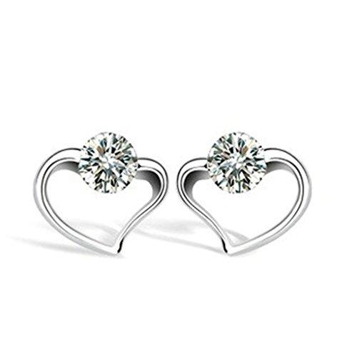 1/2 Ct Heart Cut Loose Diamond (Women Stud Earrings Silver Plated CZ Crystal Heart Silver Earrings for Women by)