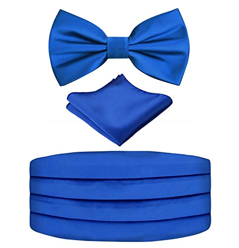 Alizeal Mens Prom Bow Tie, Handkerchief and Cummerbund Set (Solid Royal Blue) ()