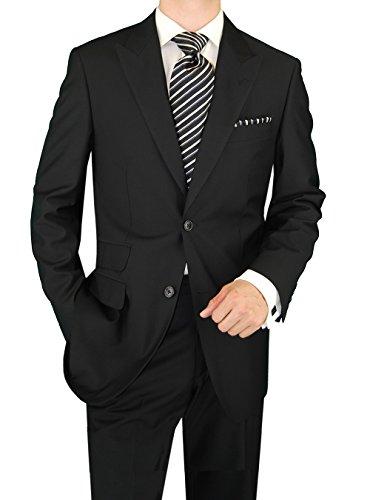 DTI GV Executive Men's Italian Two Button Wool Suit Set Ticket Pocket Jacket (40 Regular US / 50R EU/W 34
