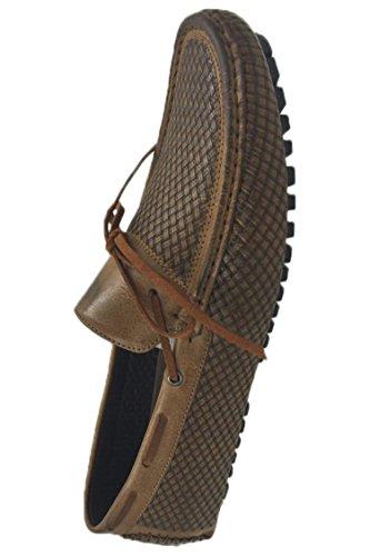 Andrew Fezza Af-1959 Mocassini Slip-on In Pizzo Pizzo Mocassini Scarpe Cammello