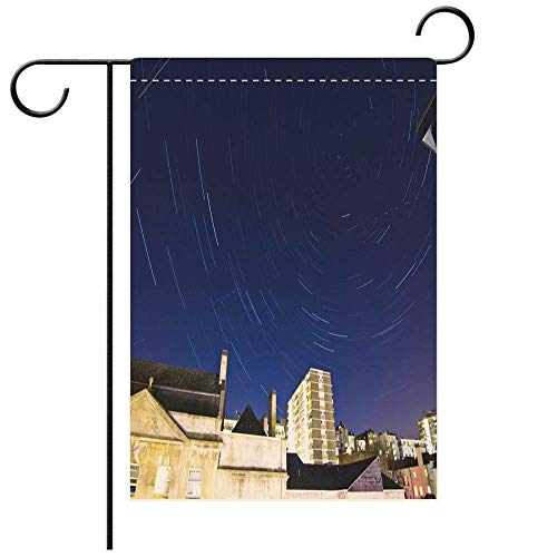 Garden Flag double-sided printing, Double Sided A star trail over Bristol town inside the Cotswolds at UK amazing view of the star movements over the night Best for Party Yard and Home Outdoor Decor