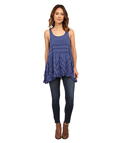 (Free People Womens Lace Asymmetric Slip Dress Blue M)
