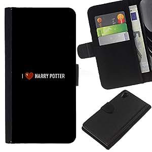 Stuss Case / Funda Carcasa PU de Cuero - Corazón Harry Negro Película libro - Sony Xperia Z2 D6502