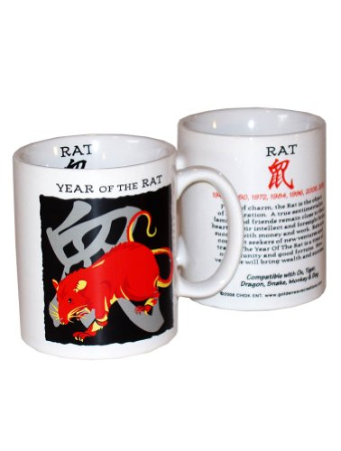 Goldenwave Creations Asian Oriental Chinese Zodiac Coffee & Tea Mug Year of the Rat: Birth years 1924, 36, 48, 60, 72, 84, 96, 2008