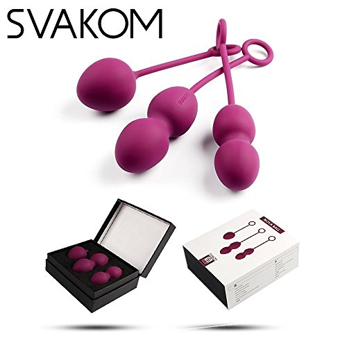 Svakom Nova Silikon Liebeskugeln Set für Frauen Beckenboden, Beckenbodentrainingsset für Sextraining und Vagina Training, 3er-Pack (50g,73g,97g), Wasserfest (Violett)
