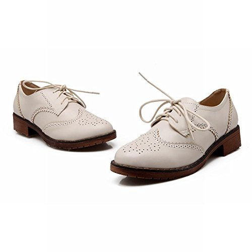 Latasa Mode Féminine Lacets Bas Chunky Chaussures Oxford Beige