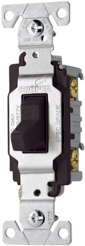 Eaton CS120BK 20-Amp 120/277-volt Commercial Grade Single Pole Compact Toggle Switch with Side Wiring, Black