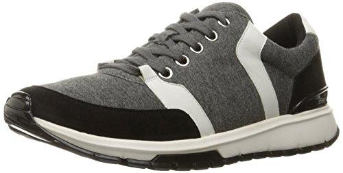 Calvin Klein Women's Vinnie Fashion Sneaker, Grey/Black/White, 6.5 M US