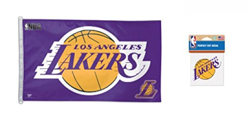 WinCraft NBA Los Angeles LA Lakers 3' x 5' Flag and 4 inch Die Cut Decal Set
