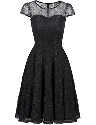 champagne and black lace bridesmaid dresses - 1