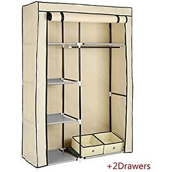 Homebi Closet Wardrobe Clothes Closet With 2 Drawers Non Woven Fabric  Clothes Rack Portable Storage