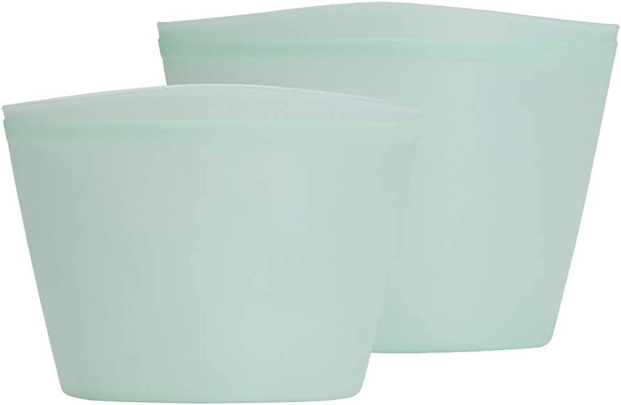 Lexana 100% Silicone Reusable Food Storage Bag, Mint Green (Stand-up, Set of 2, 17oz & 34oz, Pinch Seal) | Sous Vide, Freeze, To-go, Store | Microwave-Ready, Dishwasher-Safe, Eco-friendly