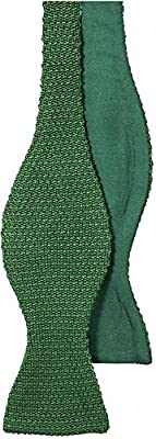 Emerald Green Knitted and Woven Untied Butterfly Bow Tie by 40 Colori