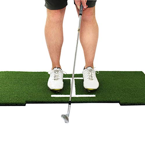 Rukket Standing Golf Hitting Grass Mat | Realistic Fairway and Stance Alignment Graphic | Portable Driving, Chipping, Training Aids, Equipment for Residential Backyard and Indoor Practice (4ft x 2ft)