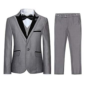Boyland Boys 3 Pieces Formal Suits Classic Peak Lapel Slim Fit Tux Jacket Vest Pants Birthday Party Wedding - Gray - 10/140