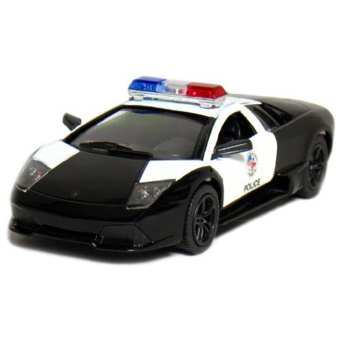 "Toy / Game 5"" Lamborghini Murcielago LP640-4 Police1:36 Scale Diecast Metal Openable Doors (Black/White)"