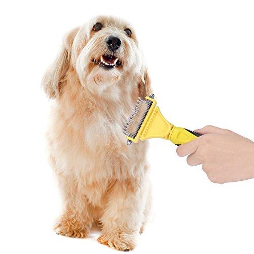 GHB Cepillo con 2 Frentes de Perros y Gatos para la Limpieza Rastrillo de Pelos Nudos y Enredos Color-Amarillo ...