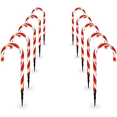 Best Choice Products 15in Christmas Candy Cane Pathway Marker Lights Set of 10 Holiday Decoration w/ 25ft Total Length