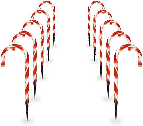 Best Choice Products 15in Indoor Outdoor Christmas Candy Cane Pathway Marker Lights Set of 10 Holiday Decoration, 25ft Total Length