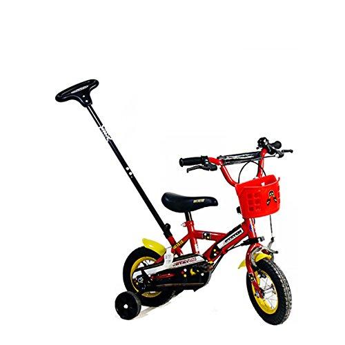 Cyfie 手押し车 子供用自転車 2段のパター付き 柔軟のサドル 補助輪付き 適用目安:80~100cm 2~5歳 耐久 耐重 10インチ レッド B01BWEXJ1O