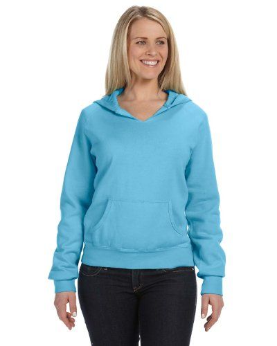 (Comfort Colors Pigment-Dyed Ladies Frayed Hooded Sweatshirt 1595 M Lagoon Blue)