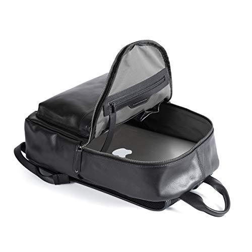 3ecd10fdb Sharkborough Jackson Men's Backpack Genuine Leather Travel Bag Extra  Capacity Casual Daypacks (Black - Small
