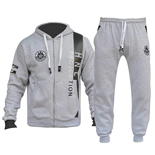 FLIRTY WARDROBE Mens HNL Tracksuit Joggers Hoodie Sweatshirt Pants Sweats Bottoms Plus Size UK [Grey/Charcoal 4XL]