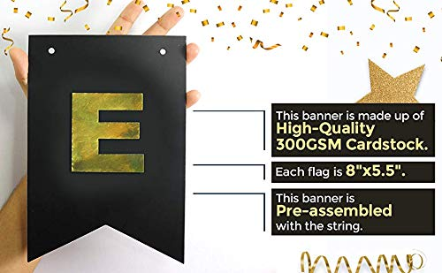 Champagne Theme Black and Gold Foiled Banner Card Stock-USA Brand! Bachelorette Party Decor Boston Creative company Cheers Banner -Bubbly Bar Banner #Card/_BAN/_19