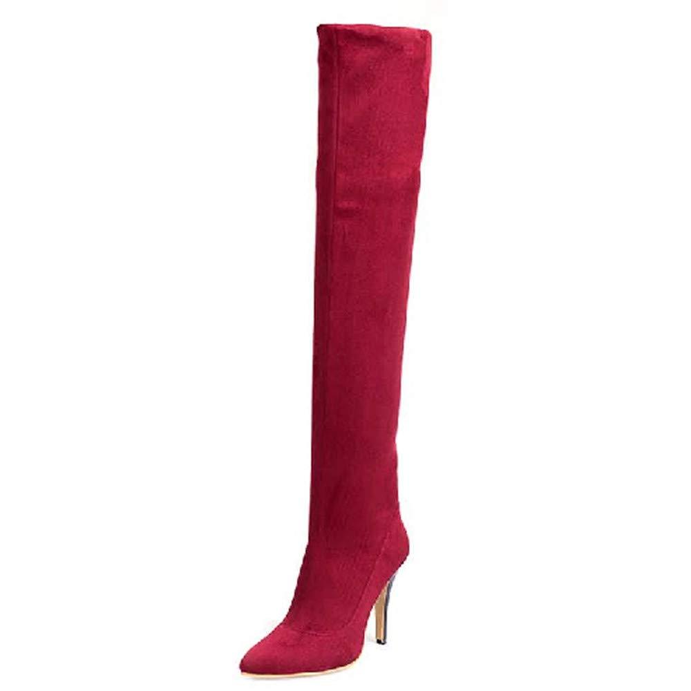 IHAZA Seitlicher Reißverschluss Ritterstiefel für Frauen Frauen Frauen Freizeit gemischte Farben Dicker Absatz Stiefel runder Kopf 91e296