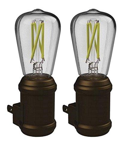 Westek Vintage LED Bulb Night Light - Pack of 2 Edison Filament Old-Fashioned Design Nightlights - Auto Dusk-Dawn Sensor, Outlet Plug-in, Energy Efficient, 25,000 Hours, 8 Lumens – Aged Bronze Finish