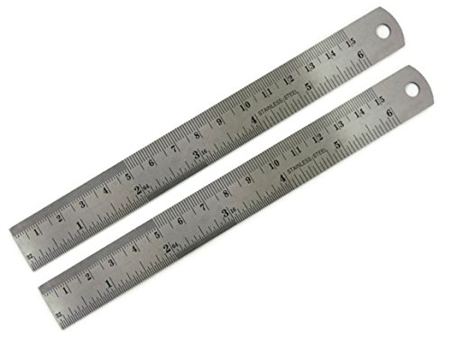 BUMOS Stainless Steel Ruler 6 inch with Conversion