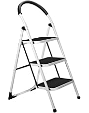 3 Step Stool, Gimify Folding Step Ladder Steel Stepladders (Upgraded Version) Non-Slip Sturdy Steps Wide Pedal with Comfortable Hand Grip for Home Kitchen Garden Office 330 lbs